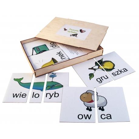 Puzzle sylaby magnetyczne w drewnianym pudełku