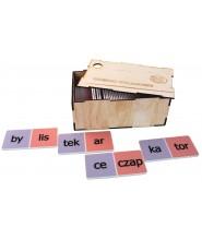 Domino sylabowe w drewnianym pudełku