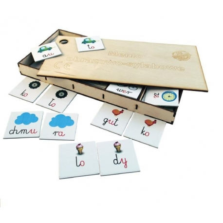Memo obrazowo-sylabowe w drewnianym pudełku